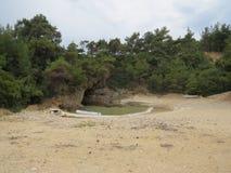 Het reizen en de partij van de de zomerpret Tripitistrand, Thassos-Stranden Beste stranden in de wereld Thasosseiland Griekenland stock afbeelding