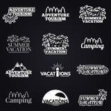 Het reizen en vakantie Geplaatste pictogrammen Royalty-vrije Stock Foto
