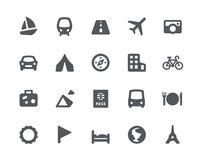 Het reizen en vervoer geplaatste pictogrammen Stock Afbeelding