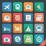 Het reizen en vervoer Vlakke pictogrammen Stock Fotografie