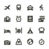 Het reizen en vervoerpictogrammen. Stock Foto