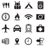 Het reizen en vervoerpictogrammen Stock Foto's