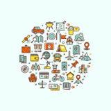 Het reizen en vervoerpictogrammen in cirkelontwerp voor Web mobiele app Royalty-vrije Stock Afbeelding
