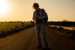 Het reizen met Smartphone royalty-vrije stock foto
