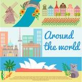 Het reizen rond de wereld Holland, Berlijn, Australië Royalty-vrije Stock Afbeelding