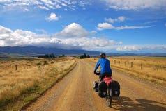 Het Reizen van de fiets in Nieuw Zeeland Stock Afbeelding