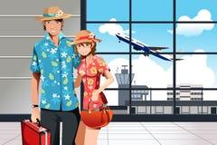 Het reizende paar van de zomer royalty-vrije illustratie
