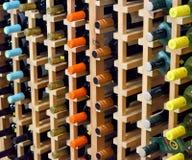 Het rek van de wijn met flessen Stock Fotografie