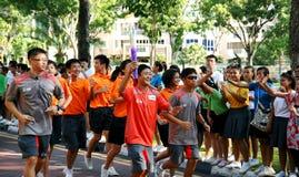 Het Relais van de Toorts van de Olympische Spelen 2010 van de jeugd Stock Foto