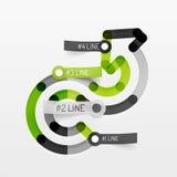 Het in reliëf gemaakte minimale diagram en de stickers van de stijllijn Stock Afbeelding