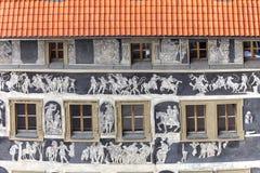 Het renaissance` Huis onder een minieme ` verfraaide met Vierkant van de techniek sgraffito, Oude Stad, Praag, Tsjechische Republ stock fotografie