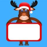 Het rendier dat van Kerstmis een wit teken houdt Royalty-vrije Stock Foto's