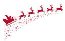 Het rendier die van de kerstmanar op achtergrond van snow-covered sterren vliegen