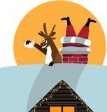 Het rendier neemt een selfie met Kerstman in de schoorsteen wordt geplakt die stock illustratie