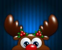 Het rendier van het Kerstmisbeeldverhaal over blauwe achtergrond Royalty-vrije Stock Foto