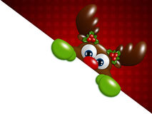 Het rendier van het Kerstmisbeeldverhaal over rode achtergrondholdingsspatie Stock Foto