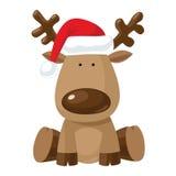 Het rendier van Kerstmis in de rode hoed van de Kerstman `s Stock Fotografie