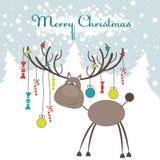 Het rendier van Kerstmis. Vector illustratie Stock Fotografie