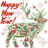 Het rendier van waterverfkerstmis Tekst van het wens de Gelukkige Nieuwjaar vector illustratie