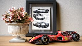 Het Rennen Concept Car van Formule 1 vooraanzicht over het lijststuk speelgoed royalty-vrije illustratie