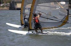 Het rennen Sailboarders stock foto's