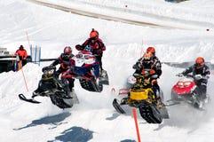 Het rennen van de sneeuwscooter Royalty-vrije Stock Foto