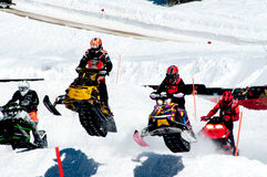 Het rennen van de sneeuwscooter Royalty-vrije Stock Afbeelding