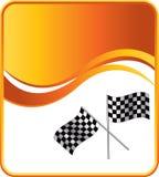 Het rennen van geruite vlaggen op oranje golfachtergrond Royalty-vrije Stock Foto's