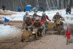 Het rennen van Motorfiets met sidecar Royalty-vrije Stock Afbeeldingen