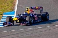 Het Rennen van RedBull van het team F1, Teken Webber, 2011 Royalty-vrije Stock Foto's