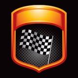 Het rennen van vlaggen in oranje vertoning Stock Foto