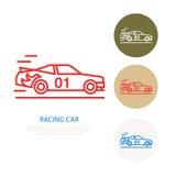 Het rennende pictogram van de sportwagen vectorlijn Snelheids automobiel embleem, drijflessenteken De illustratie van het Automok Stock Foto's