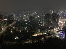 Het Republiek Korea van de de nacht scape winter van de Bergtop nieuwe jaar royalty-vrije stock fotografie