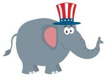 Het republikeinse Karakter van het Olifantsbeeldverhaal met Oom Sam Hat Royalty-vrije Stock Foto's