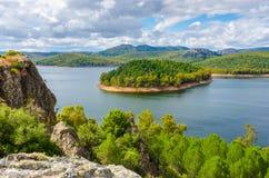 Het reservoir of Puerto Pena van Garcia Sola in Badajoz Stock Foto's