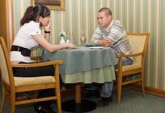 In het restaurant royalty-vrije stock afbeeldingen