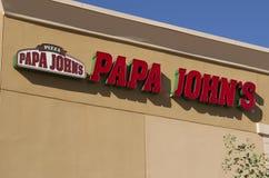 Het Restaurant van het de Pizza Snelle Voedsel van Papa John Stock Foto's