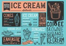 Het restaurant van het roomijsmenu, het malplaatje van het dessertvoedsel Royalty-vrije Stock Foto