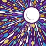 Het restaurantachtergrond van het bestek in purple royalty-vrije illustratie