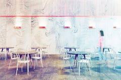 Het restaurantbinnenland van de zolderluxe, vrouw Royalty-vrije Stock Fotografie