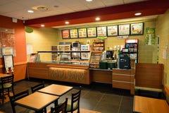 Het restaurantbinnenland van het metro snelle voedsel stock foto's