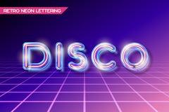 Het Retro glasneon van letters voorzien Stock Afbeelding