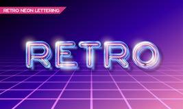 Het Retro glasneon van letters voorzien Stock Foto's