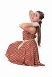 Het Retro meisje glimlachen stock fotografie