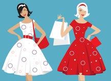 Het Retro meisjes winkelen Stock Foto