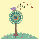 Het Retro vogel zingen Royalty-vrije Stock Afbeeldingen