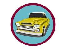 Het retro vrachtwagensymbool op de cirkelachtergrond vector illustratie