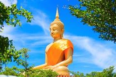 Het reusachtige Mooie Gouden Standbeeld van Boedha met Blauwe hemel Stock Foto's