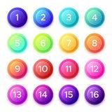 Het richten van aantal op de knooppictogram van de gradiëntkogel Kleurrijke 3D cirkelknopen met geïsoleerde puntaantallen op balk vector illustratie