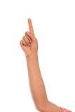 Het richten van de vinger, vrouwelijke geïsoleerde hand, Stock Foto